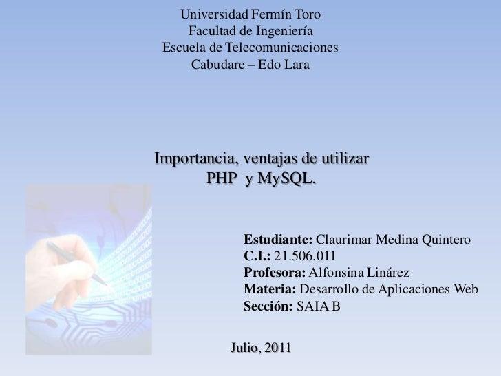 Universidad Fermín Toro<br />Facultad de Ingeniería<br />Escuela de Telecomunicaciones<br />Cabudare – Edo Lara<br />Impor...