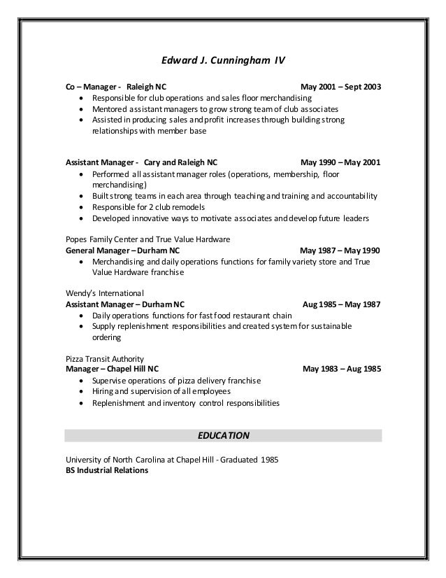 shift supervisor resume sample