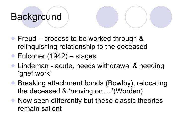 Background <ul><li>Freud – process to be worked through & relinquishing relationship to the deceased </li></ul><ul><li>Ful...