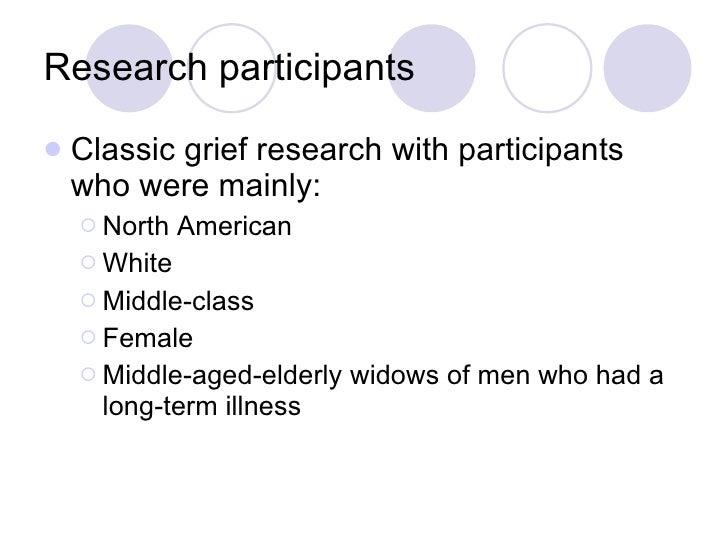 Research participants <ul><li>Classic grief research with participants who were mainly: </li></ul><ul><ul><li>North Americ...
