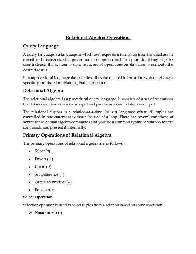 Relational Algebra Operations Slide 2