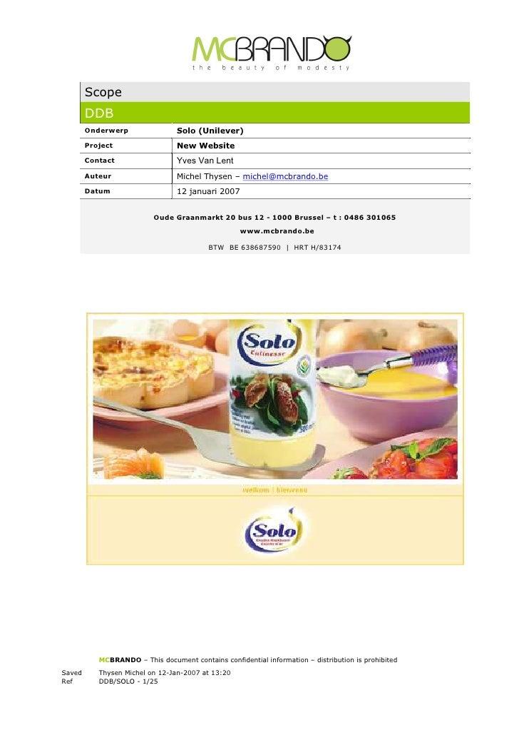 Scope         DDB         Onderwerp                Solo (Unilever)         Project                  New Website         Co...