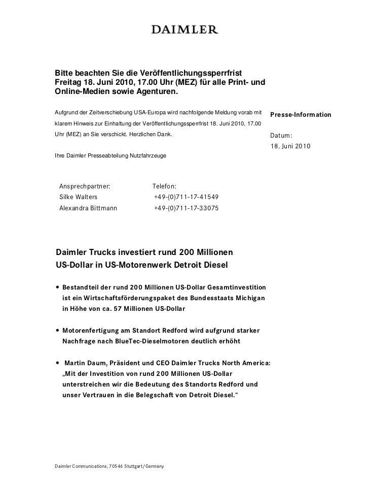 Bitte beachten Sie die VeröffentlichungssperrfristFreitag 18. Juni 2010, 17.00 Uhr (MEZ) für alle Print- undOnline-Medien ...