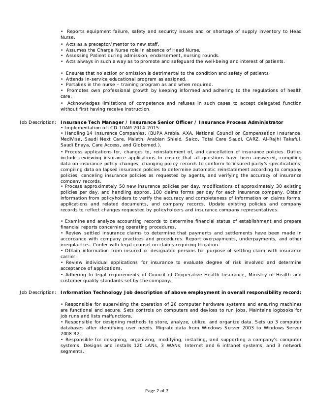 charge nurse job description resume