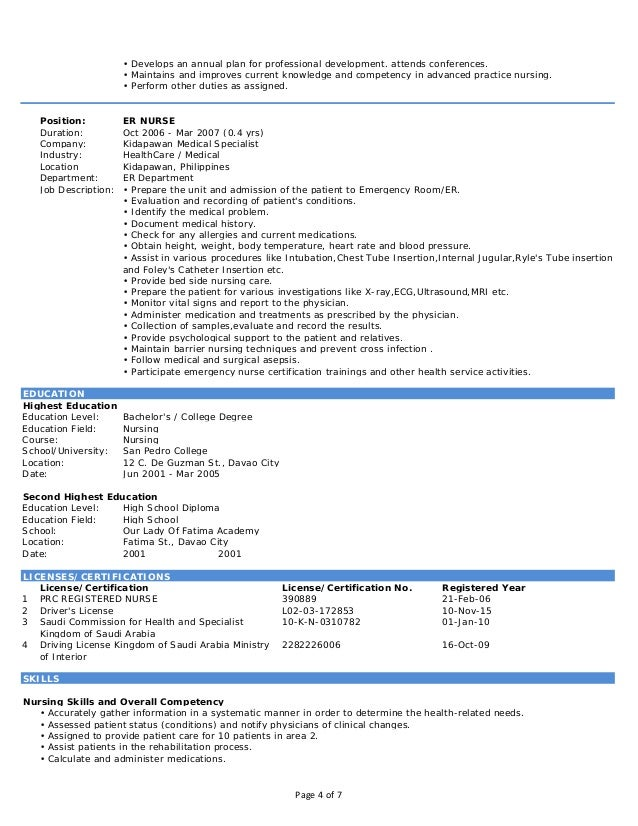 resume for new nurses in the philippines