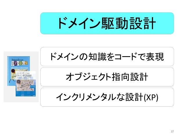 ドメインの知識をコードで表現 オブジェクト指向設計 インクリメンタルな設計(XP) ドメイン駆動設計 37