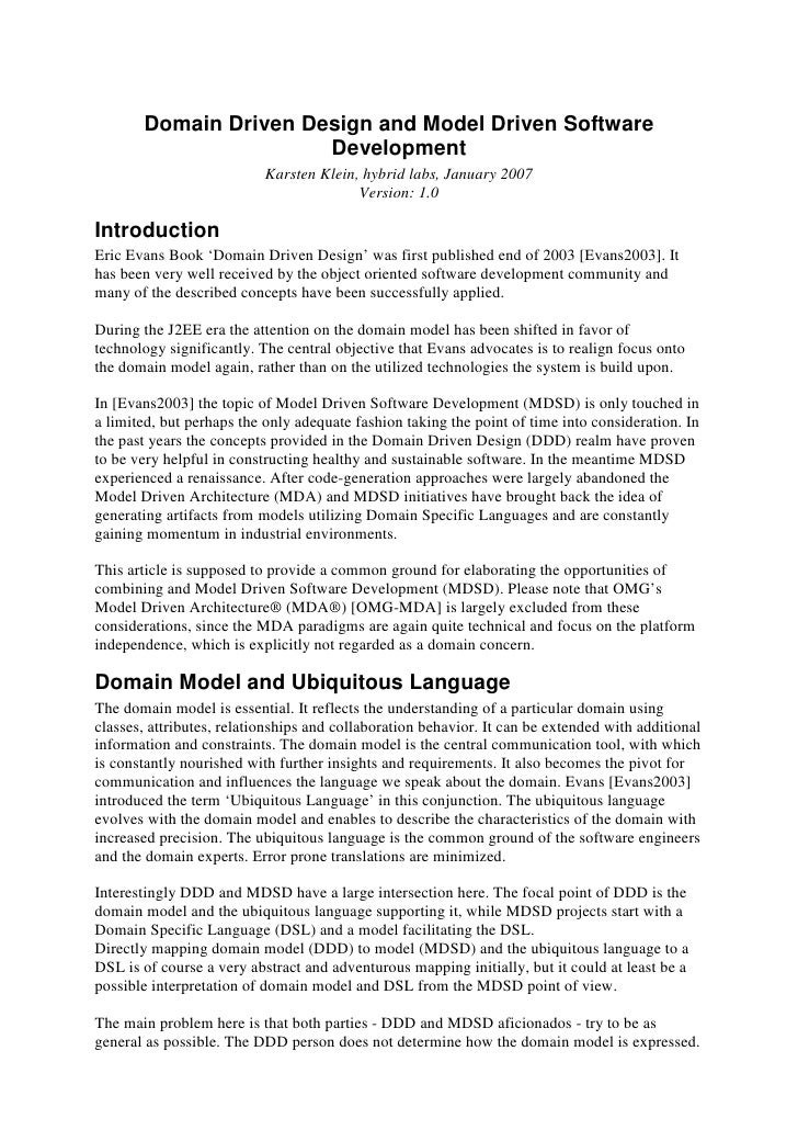 Domain Driven Design and Model Driven Software                       Development                           Karsten Klein, ...