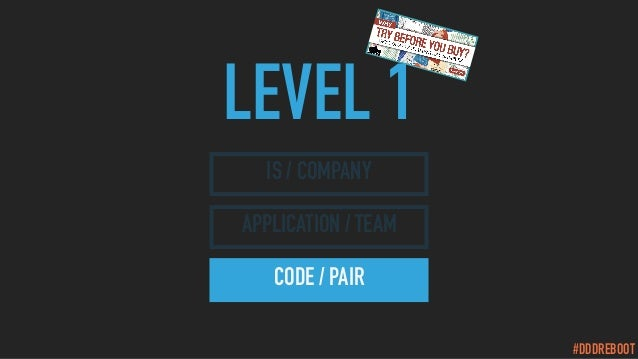 #DDDREBOOT LEVEL 1 IS / COMPANY APPLICATION / TEAM CODE / PAIR