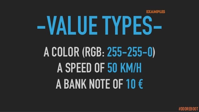 #DDDREBOOT -VALUE TYPES- A COLOR (RGB: 255-255-0) A SPEED OF 50 KM/H A BANK NOTE OF 10 € Examples