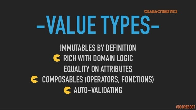 #DDDREBOOT -VALUE TYPES- IMMUTABLES BY DEFINITION RICH WITH DOMAIN LOGIC EQUALITY ON ATTRIBUTES COMPOSABLES (OPERATORS, FO...
