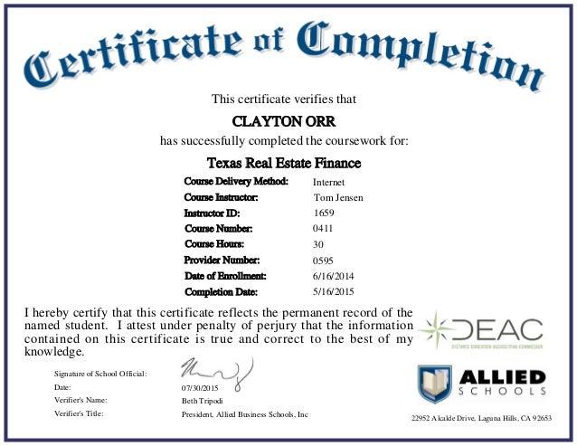 Certificate Tx Real Estate Finance