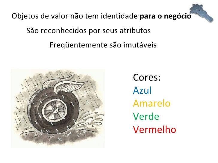 Objetos de valor não tem identidade  para o negócio Freqüentemente são imutáveis São reconhecidos por seus atributos Cores...