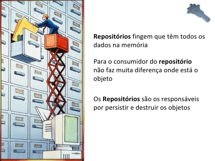 Repositórios  fingem que têm todos os dados na memória Para o consumidor do  repositório  não faz muita diferença onde est...