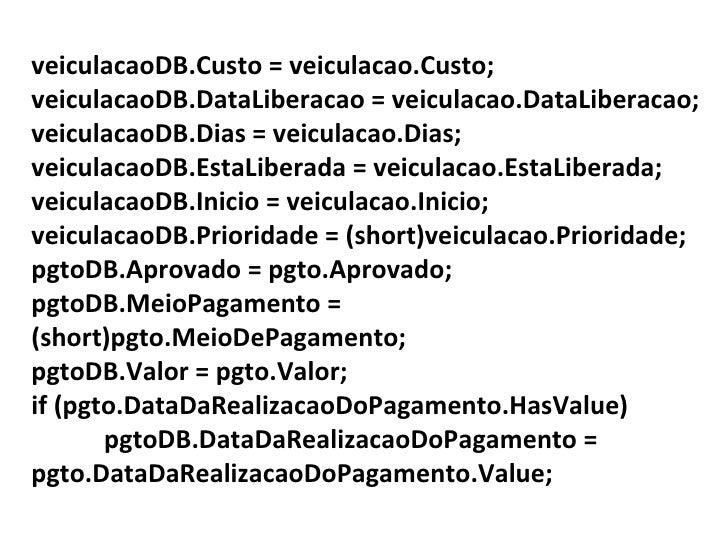 veiculacaoDB.Custo = veiculacao.Custo; veiculacaoDB.DataLiberacao = veiculacao.DataLiberacao; veiculacaoDB.Dias = veiculac...