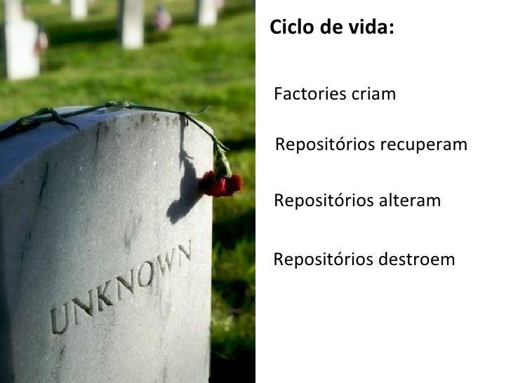 Ciclo de vida: Factories criam Repositórios recuperam Repositórios alteram Repositórios destroem