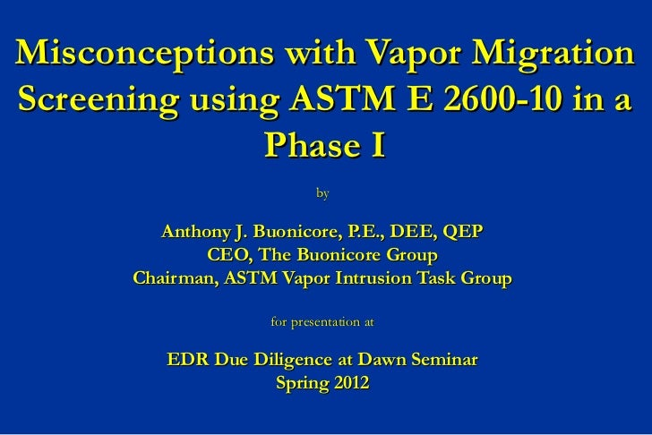Misconceptions with Vapor MigrationScreening using ASTM E 2600-10 in a              Phase I                            by ...