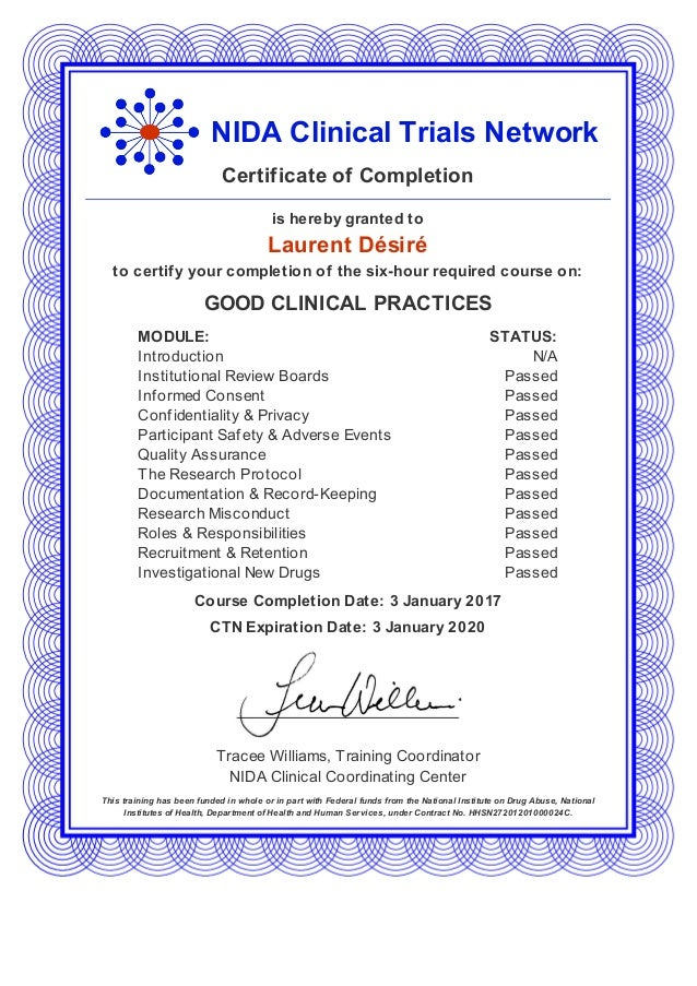 Nida Clinical Trials Network Gcp Training Certificate