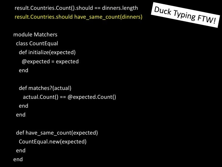 result.Countries.Count().should == dinners.length<br />result.Countries.shouldhave_same_count(dinners)<br />module Matcher...