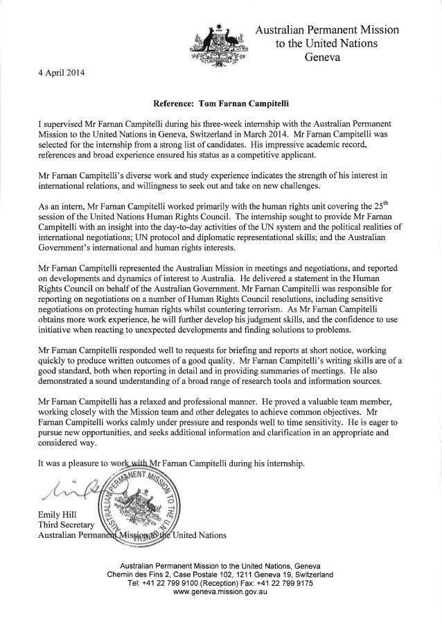 letter of recommendation australian permanent mission