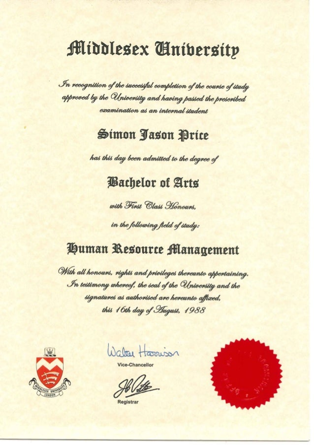 HRM Degree Certificate