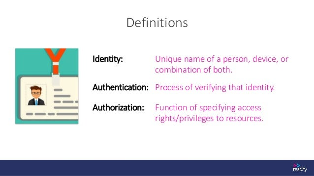 Definitions Access Token An object which represents the right to perform some operation. Identity Token An object that aid...