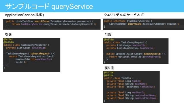 サンプルコード queryService ApplicationService(検索) 引数 クエリモデルのサービス IF 引数 戻り値