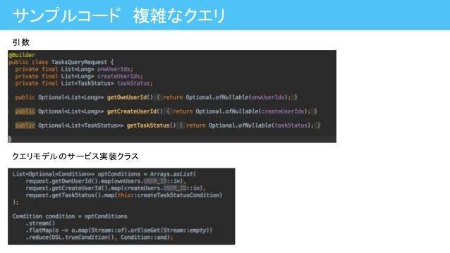 サンプルコード 複雑なクエリ 引数 クエリモデルのサービス実装クラス