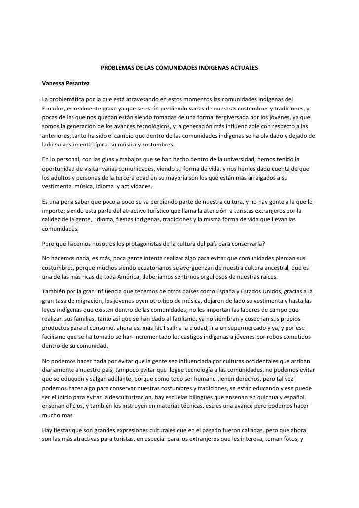 PROBLEMASDELASCOMUNIDADESINDIGENASACTUALES  VanessaPesantez  Laproblemáticaporlaqueestáatravesandoenesto...