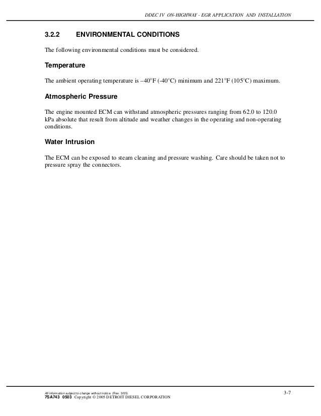 Ddec iv on highway - egr application and installation