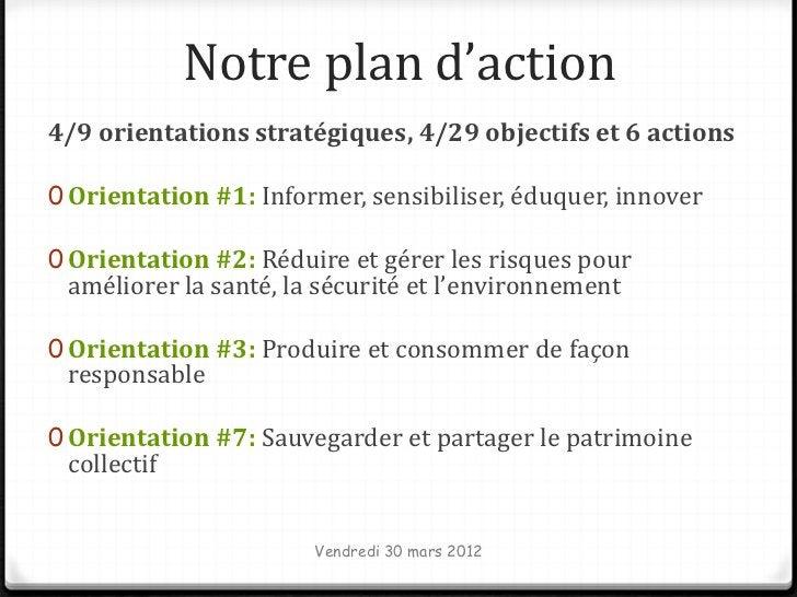 Notre plan d'action4/9 orientations stratégiques, 4/29 objectifs et 6 actions0 Orientation #1: Informer, sensibiliser, édu...