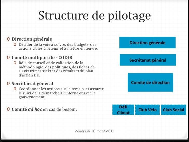 Structure de pilotage0 Direction générale   0 Décider de la voie à suivre, des budgets, des                    Direction g...