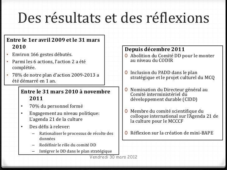 Des résultats et des réflexionsEntre le 1er avril 2009 et le 31 mars  2010                                                ...