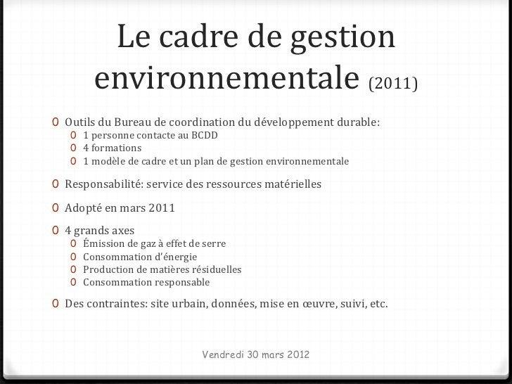 Le cadre de gestion         environnementale (2011)0 Outils du Bureau de coordination du développement durable:   0 1 pers...