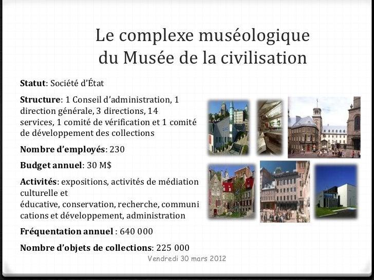 Le complexe muséologique                   du Musée de la civilisationStatut: Société d'ÉtatStructure: 1 Conseil d'adminis...