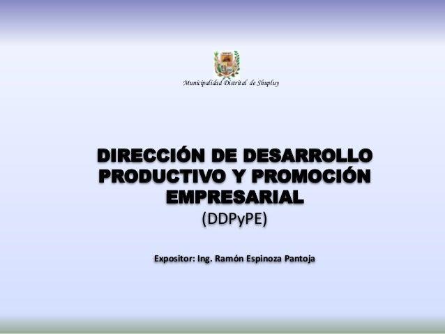 DIRECCIÓN DE DESARROLLO PRODUCTIVO Y PROMOCIÓN EMPRESARIAL (DDPyPE) Expositor: Ing. Ramón Espinoza Pantoja Municipalidad D...