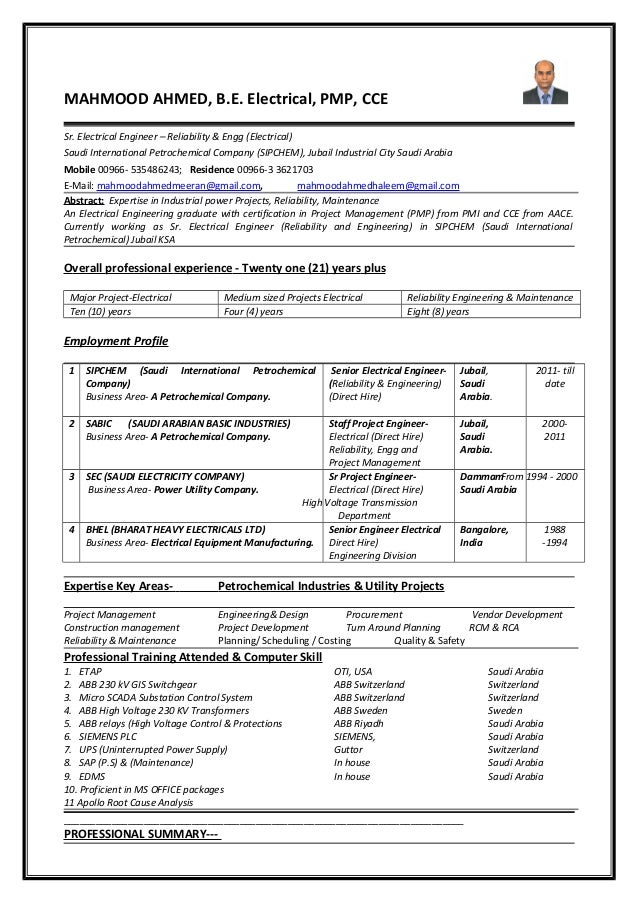 projects relaibility maintenance cv