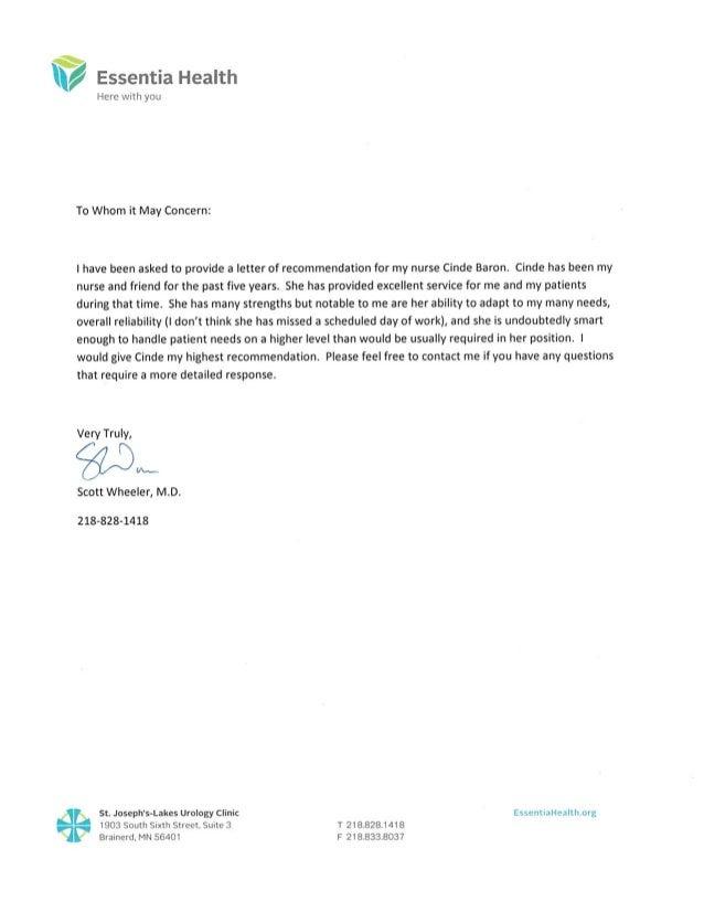 reference letter urology