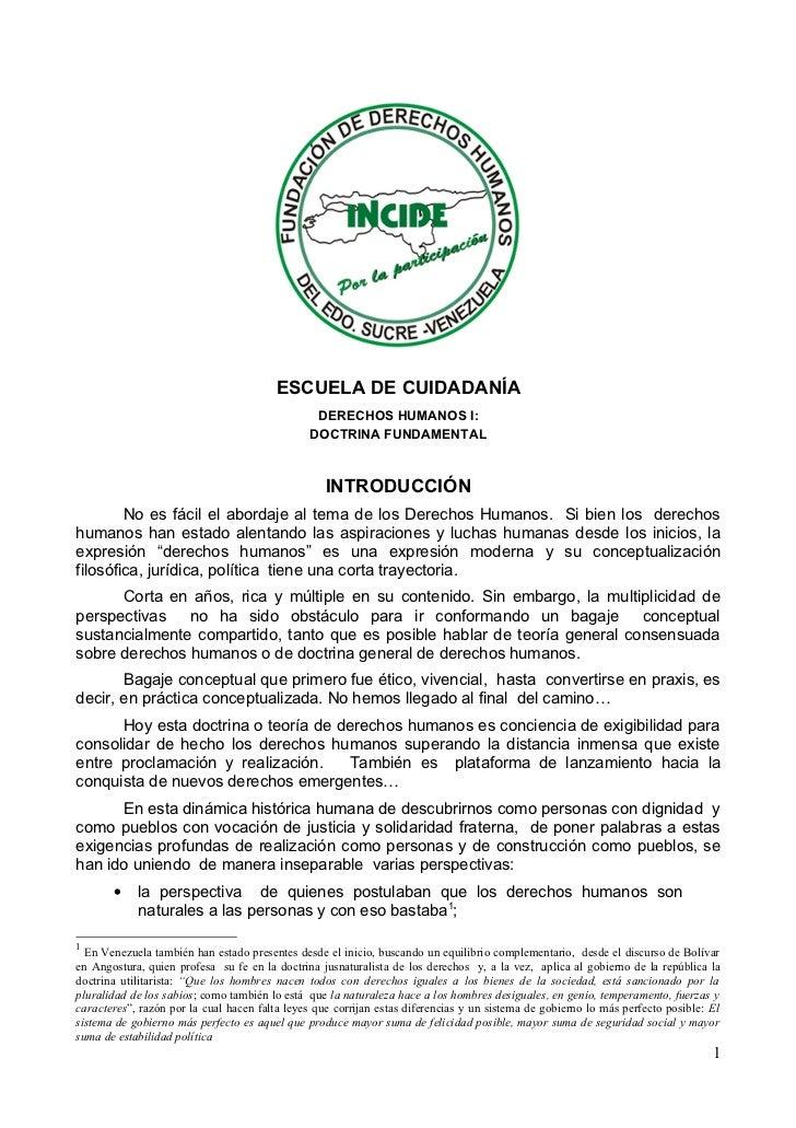 ESCUELA DE CUIDADANÍA                                                DERECHOS HUMANOS I:                                  ...