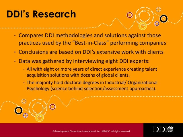 Ddi Assessment Research Is Your Organization Performing