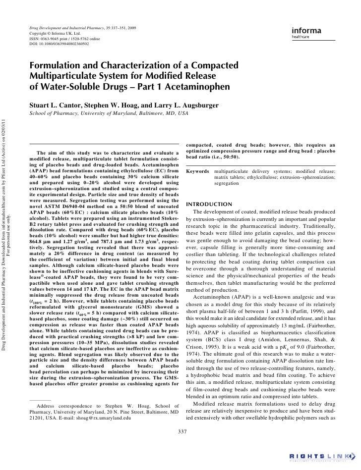Drug Development and Industrial Pharmacy, 35:337–351, 2009                                                                ...