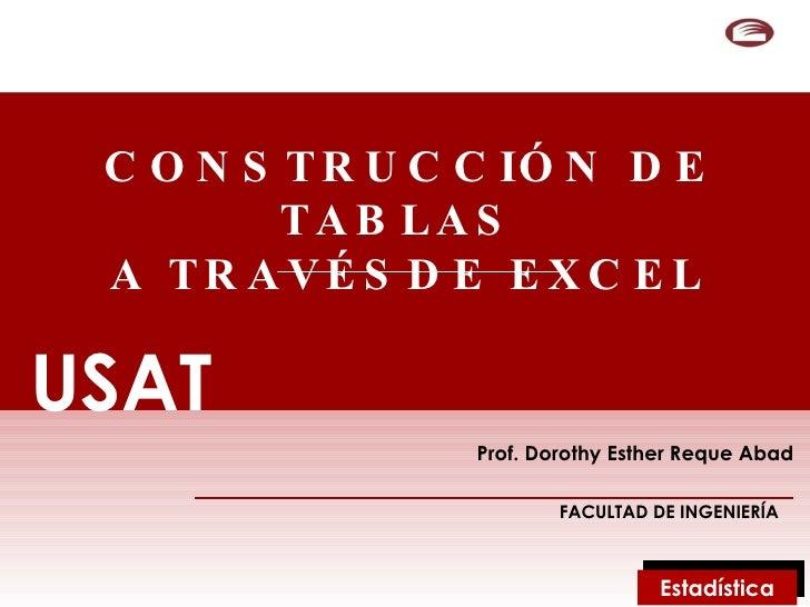 CONSTRUCCIÓN DE TABLAS  A TRAVÉSDE EXCEL Prof. Dorothy Esther Reque Abad FACULTAD DE INGENIERÍA USAT USAT Estadística
