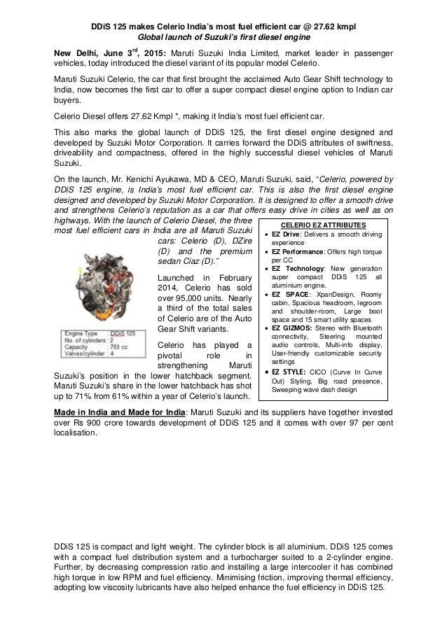 DDiS 125 makes Celerio India's most fuel efficient car @ 27.62 kmpl Global launch of Suzuki's first diesel engine New Delh...