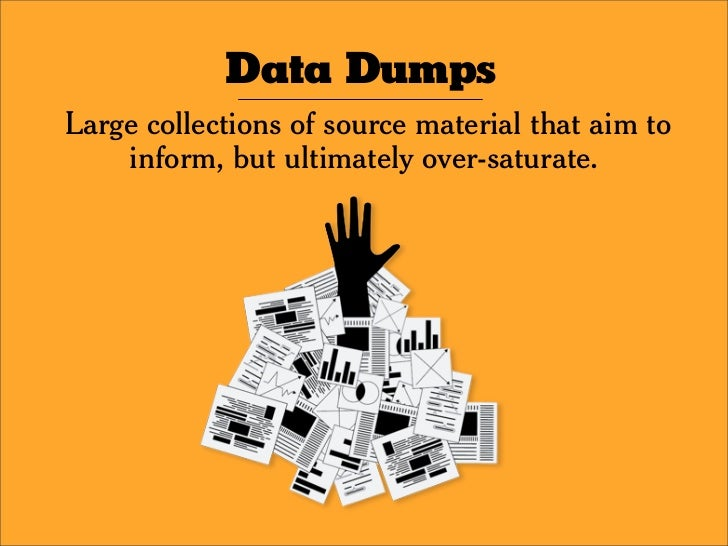 Data Dumps Large collections of source material that aim to     inform, but ultimately over-saturate.