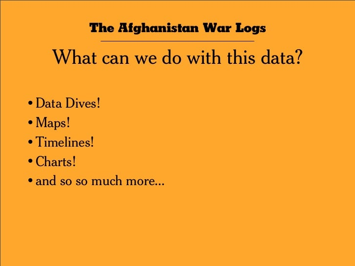 The Afghanistan War Logs Context