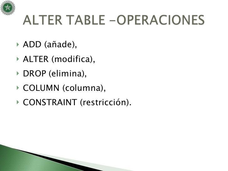 Ddl lenguaje de definici n de datos - Alter table drop constraint ...