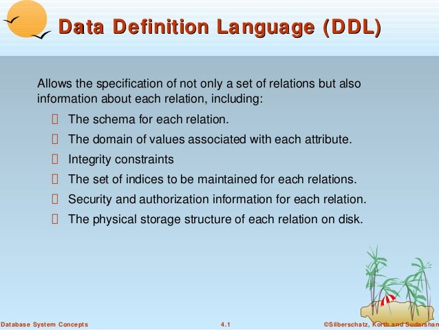Data Definition Language (DDL) Allows the specification of not only a set of relations but also information about each rel...