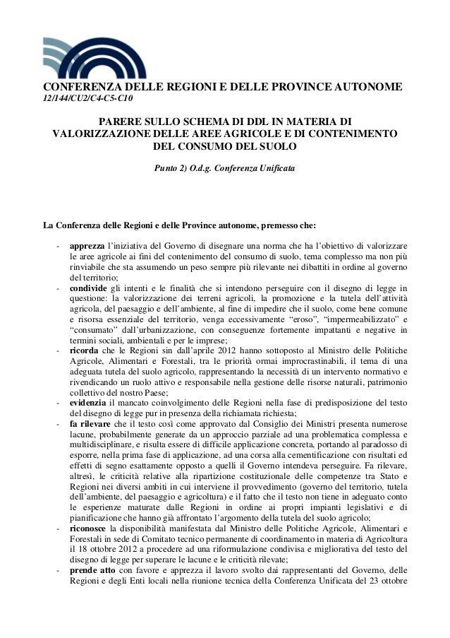 CONFERENZA DELLE REGIONI E DELLE PROVINCE AUTONOME 12/144/CU2/C4-C5-C10           PARERE SULLO SCHEMA DI DDL IN MATERIA DI...