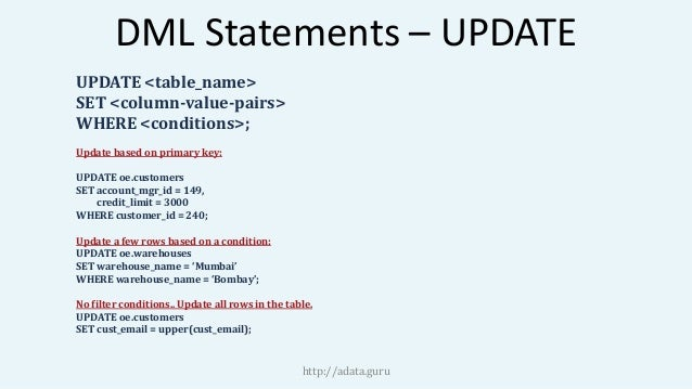 Oracle SQL DML Statements  sc 1 st  Table u0026 Chair Sets & Exciting Oracle Sql Update Table Set Contemporary - Best Image ...
