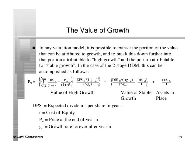 The dividend growth model, Coursework Sample
