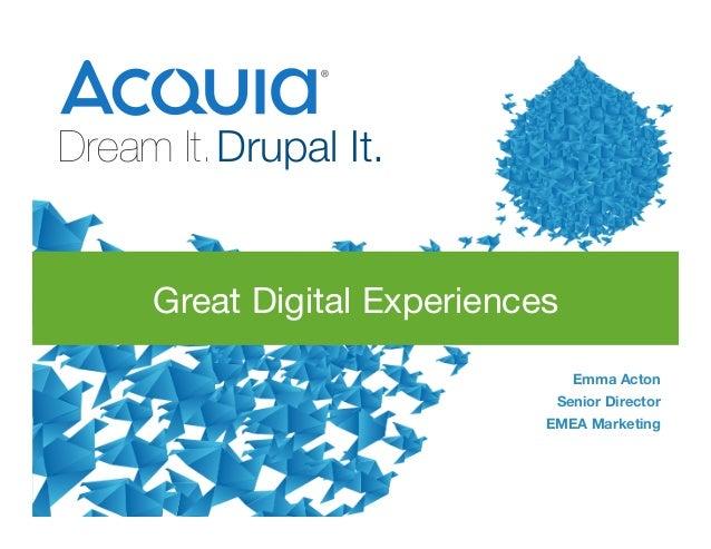 1 Dream It.Drupal It.    Emma Acton Senior Director EMEA Marketing  Great Digital Experiences
